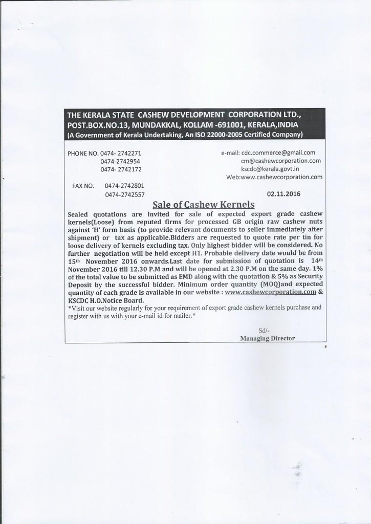 Quotation-Sale of cashew kernels